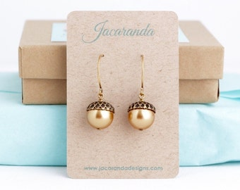 Rustic Earrings, Gold Acorn Earrings, Antique Gold Brass and Rich Gold Pearls, Dangle Earrings, Woodland Jewelry, Autumn, Acorn Jewelry