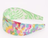 REVERSIBLE Mint Watercolor Floral Comfort Fit Fabric Headband