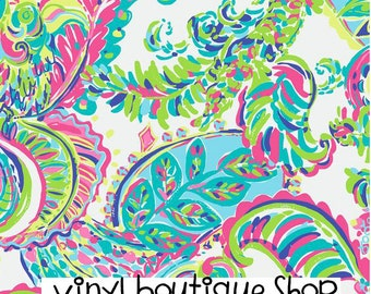 "I Whale You Lilly Inspired HTV, pattern vinyl, sheet size 12""x12"" , Lily P adhesive printed patterned craft vinyl Lp-131"
