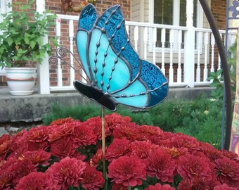 Custom order for Nancy - Two colors of Blue Stained Glass Butterfly Garden Plant Stake