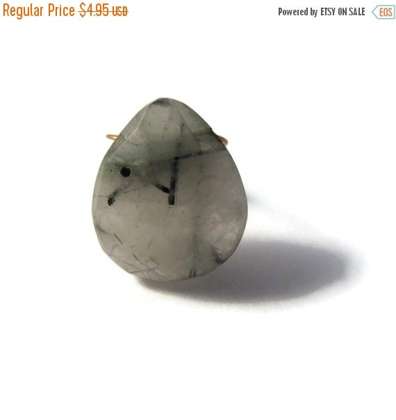 BIRTHDAY SALE - One Gemstone Briolette, Black Rutile Quartz Bead, Large Faceted Pear Shaped Natural Gemstone, 16mm x 13mm (B-Brq5c)