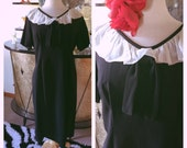 RESERVED Vintage 1950s Dress black French maid 1960s L XL