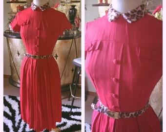 Vintage 1950s Dress red faux leopard trim collar 50s XS S Rockabilly Pinup
