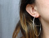 Horizon Hoops - Handmade Sterling Silver Hoops with Bisecting Line