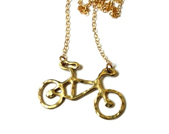 Le Very Petite Brass Bike Necklace - Small Brass Bike Necklace on 14k Gold-fill Chain - Bicycle Jewelry - Biker Girl
