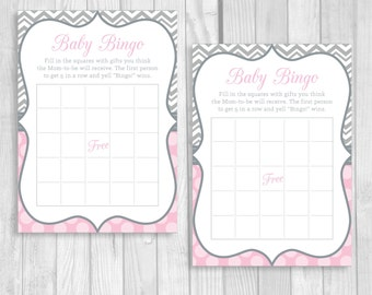 Printable Baby Shower Bingo 5x7 Pink and Gray Girl's Baby Shower Party Game - Instant Download