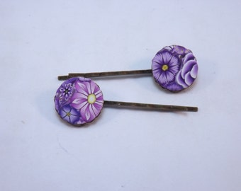 Handmade Purple Millefiori Floral Polymer Clay Bobby Pins