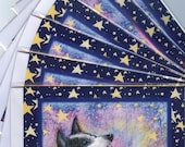 6 x Border Collie dog holiday Christmas greeting cards starry night harmony singing howling dogs choral music from Susan Alison w/c painting