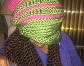 Chunky Funky Fall Slouchy Cloche - Ready to Wear - Pink & Green