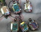 20% off sale Swarovski Crystal AB 10x8mm Octagon Brass Ox Glass Drops One Loop 6 Pcs