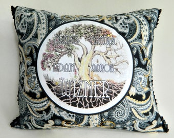 Family Tree Personalized Decorator Heirloom Throw Pillow Family Names