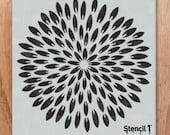 "Exotic Mum Wall Stencil - Reusable Craft & DIY Stencils - S1_PA_86 - 11"" x 11"" - By Stencil1"