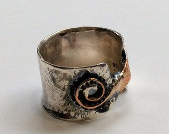 Silver copper ring, Bohemian jewelry, wide unisex band, two tone band, Spiral wide band, gypsy ring, chunky silver band - Last Nite R2320