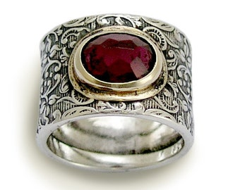 Wide Silver Ring, Garnet ring, sterling silver ring, filigree ring, stone band, silver gold ring, twotone, botanical ring - Craving R1624