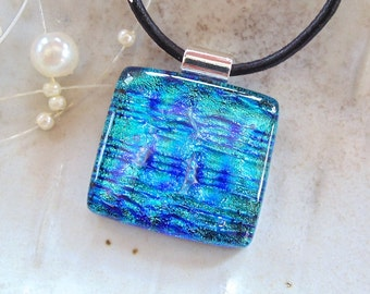 Blue Necklace, Dichroic Glass Pendant, Fused Glass Jewelry, Fused Jewelry, Turquoise, Necklace Included, A1
