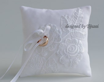 White Wedding bearer ring pillow with flowers aplique ---ring bearer pillow, wedding rings pillow , wedding pillow