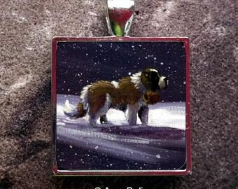 "Saint Bernard Dog ""A Ray Of Hope"" 1"" Pendant by Amy Bolin"