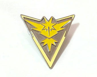 Team Instinct Pokemon GO! Silver and Yellow Metal Lapel Pin Back Badge