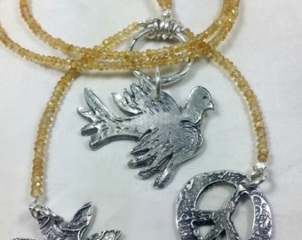 Citrine lariat Peace necklace, Gemstone long dove necklace,natural citrines and silver necklace