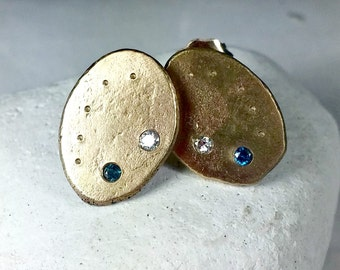 Large Gold and Diamond Studs, 14 kt solid gold Stud earrings, Rustic yellow gold and Diamond earrings, recycled gold studs