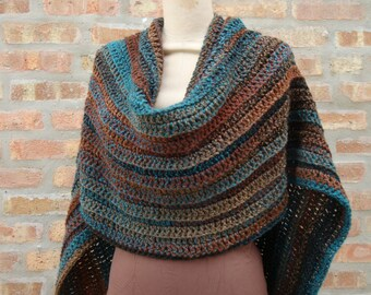 Blue Blend Poncho - Shawl - Coverup - Sweater- Hand Crochet - Custom Colors