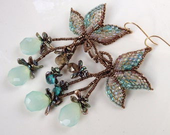 Green Leaf Earrings woven with seed beads, chalcedony, smoky quartz, Keshi pearls and apatite