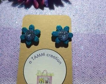 Small Flat Sparkle Flowers with Gemstone Centers - Purple, Blue or Green