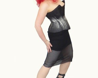 Mesh over Mini Pencil Skirt, Industrial, Goth, custom Size