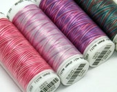 Variegated Threads, Embroidery Threads, Thread Painting, Thread Art, Mettler Poly Sheen, Multi Sheen Threads, Pack of 4, Spools of Thread