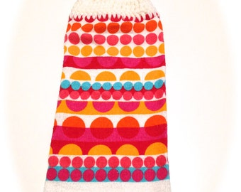Bright Colors Polka Dot Hand Towel With White Crocheted Top