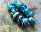 Silvery Tropical Envy  -  Handmade Glass Bead Set from Ellen Dooley SRA