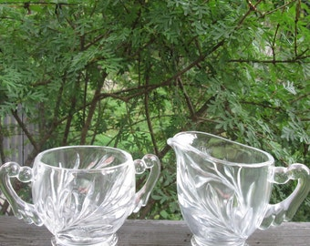 Vintage Willow Sugar Bowl and Creamer - Clear Pressed Glass - Indiana Glass