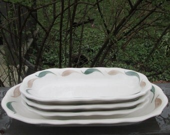 Vintage Syracuse China Restaurant Ware - Tan and Green Serving/ Relish Dishes