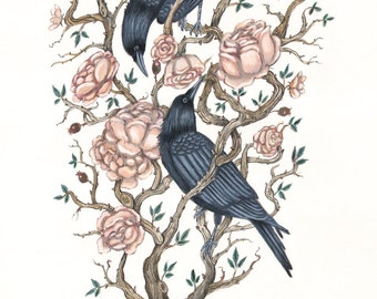 Crows in the Roses - Original Painting