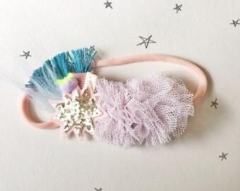 Whimsy Starburst & Ruffle headband
