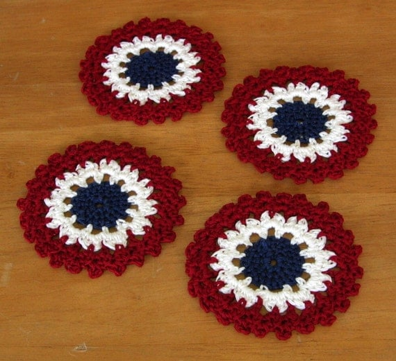 Americana Concentric Circles Coasters in Red, White and Blue - Set of 4 - Crocheted Home Decor, Doily, Applique - or Crochet Jewelry Pendant