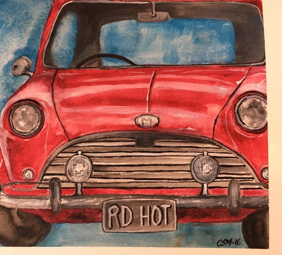 MiniCooper red original painting
