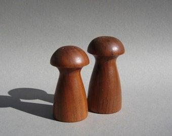 Mid Century Teak Mushroom Salt and Pepper Shakers Modern S&P Set