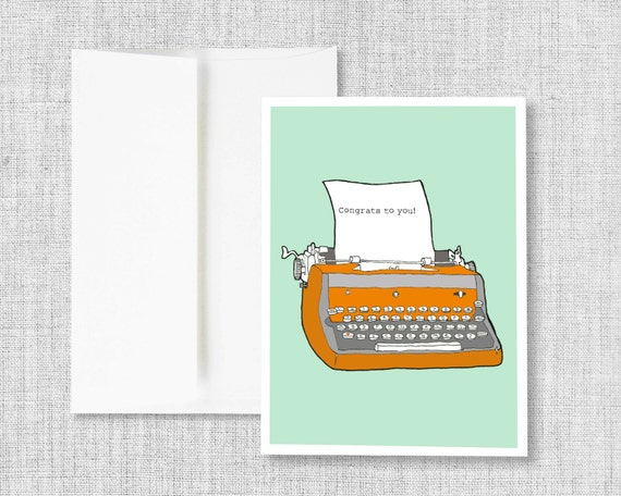 "greeting cards, greeting card set, blank greeting card, cards, vintage typewriter, retro typewriter, blank card - ""Typewriter Congrats"""