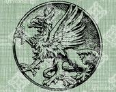 Griffon for Henry Morgan -- Digital Download Round Griffin, Mythological Creature Beast digi stamp