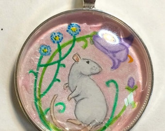 Decorative Rat &Flowers Pendant or Key Ring Unique Wearable Art for the Rat Lover