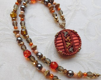 Autumn's Glory  Antique Button Necklace with Vintage and Czech Glass, One of a Kind Design, Beautiful and Unique