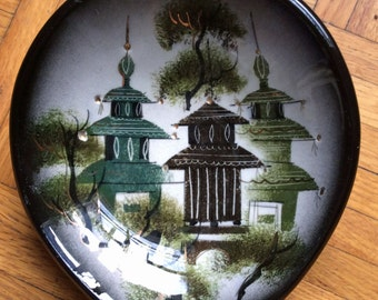 S A L E   Vintage Sascha Brastoff bowl with green & teal pagodas and gold highlights