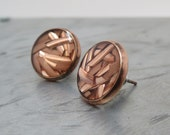 upcycled copper scraps post earrings