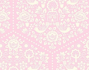 Summer House Pink - Clementine - FreeSpirit - Heather Bailey - PWHB057.PINKX - Pink Floral Quilting Fabric with Birds