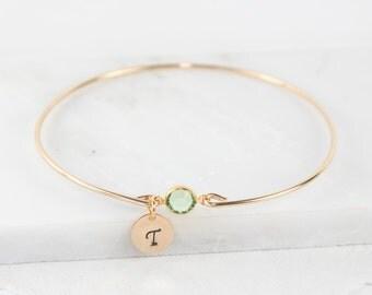 Personalized Birthstone Gold Bangle Bracelet, Personalized Gold Bracelet, Gold Bracelet,  Birthstone Bracelet, Birthstone Jewelry #867