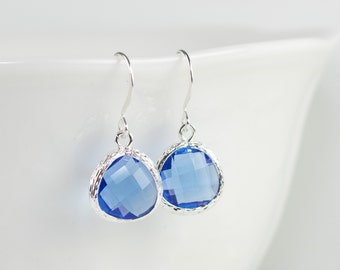 Sapphire Silver Earrings, September Birthstone Sapphire Silver Dangle Earrings, Blue Silver Earrings, Bridesmaid Earrings, #794