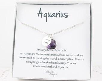 Aquarius Zodiac Silver Necklace, Aquarius February Necklace, February Birthday Jewelry, Zodiac Necklace, Astrology Silver Necklace