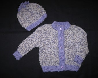 Handknit Lavender and White Cardigan and Hat Set for Baby