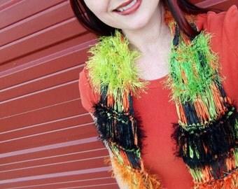 Halloween Women Halloween Fashion Scarf - Orange Black Green Halloween Accessories Halloween Scarf Sparkle Scarf